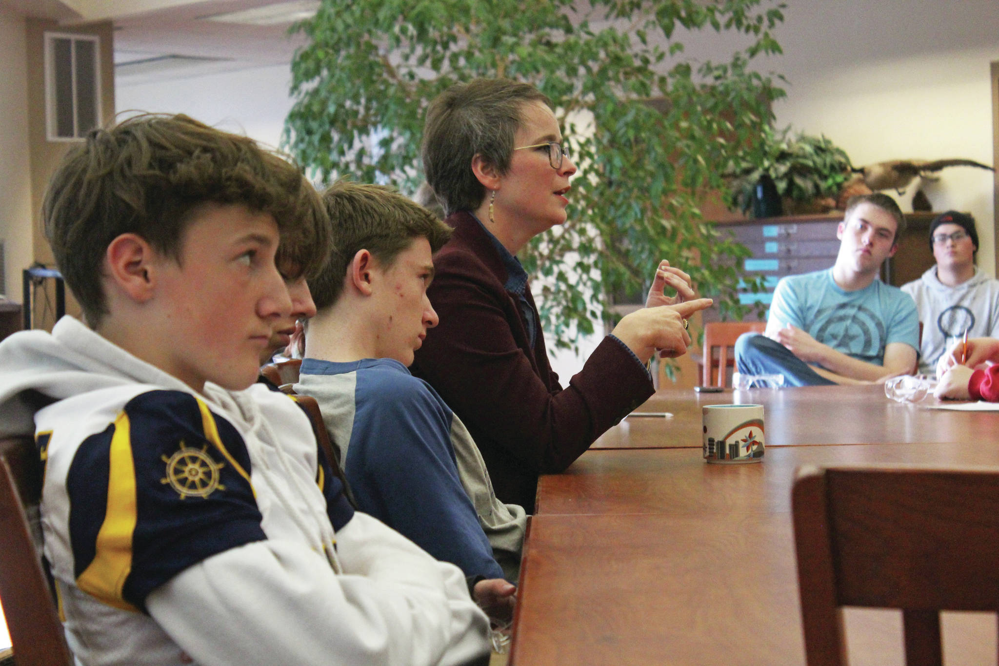 Rep. Sarah Vance (R-Homer) speaks with Homer High School students about the environment and other state issues during one of two listening sessions she held Friday, Sept. 20, 2019 at the school in Homer, Alaska. (Photo by Megan Pacer/Homer News)