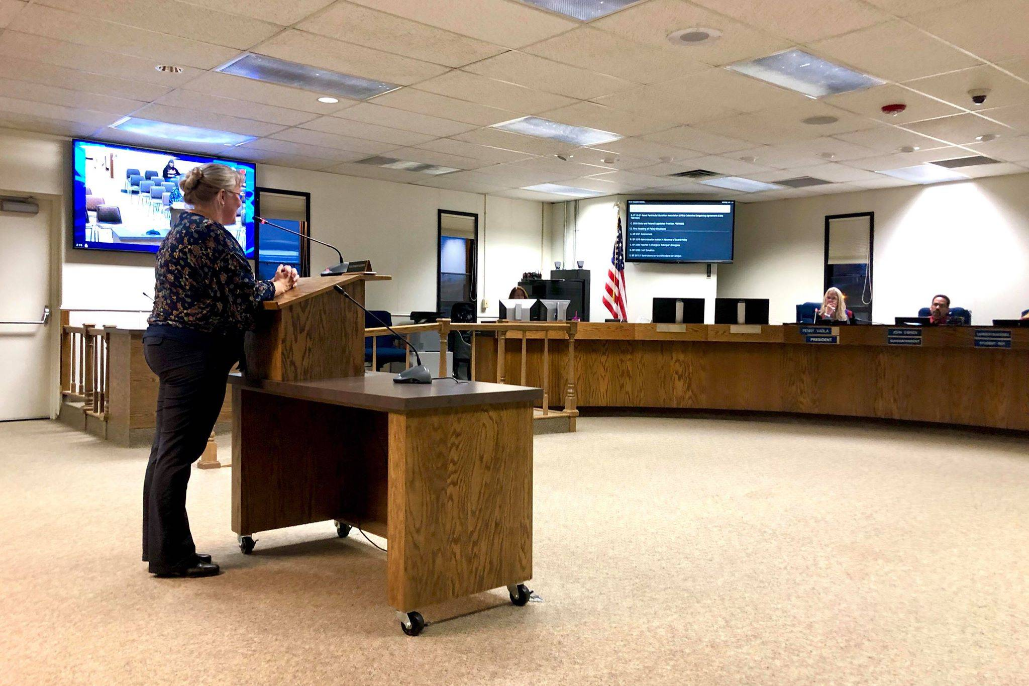 Kenai Peninsula Education Support Association Anne McCabe speaks to the Kenai Peninsula Borough School District Board of Education in support of approving employee contracts negotiated last month, Monday, Oct. 7, 2019, in Soldotna, Alaska. (Photo by Victoria Petersen/Peninsula Clarion)