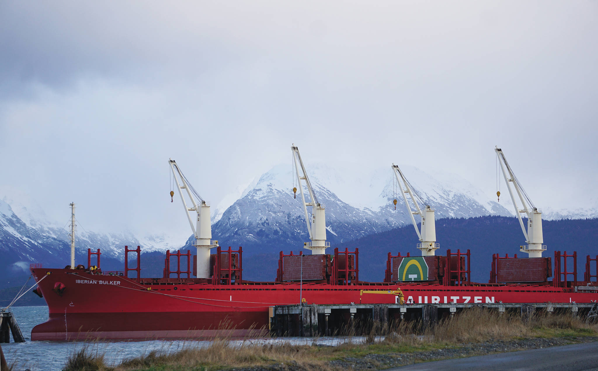 The Iberian Bulker is moored at the Deep Water Dock on Tuesday, Dec. 17, 2019, in Homer, Alaska, while being loaded with 22,000 metric tons of sulfur to be shipped to China. (Photo by Michael Armstrong/Homer News)
