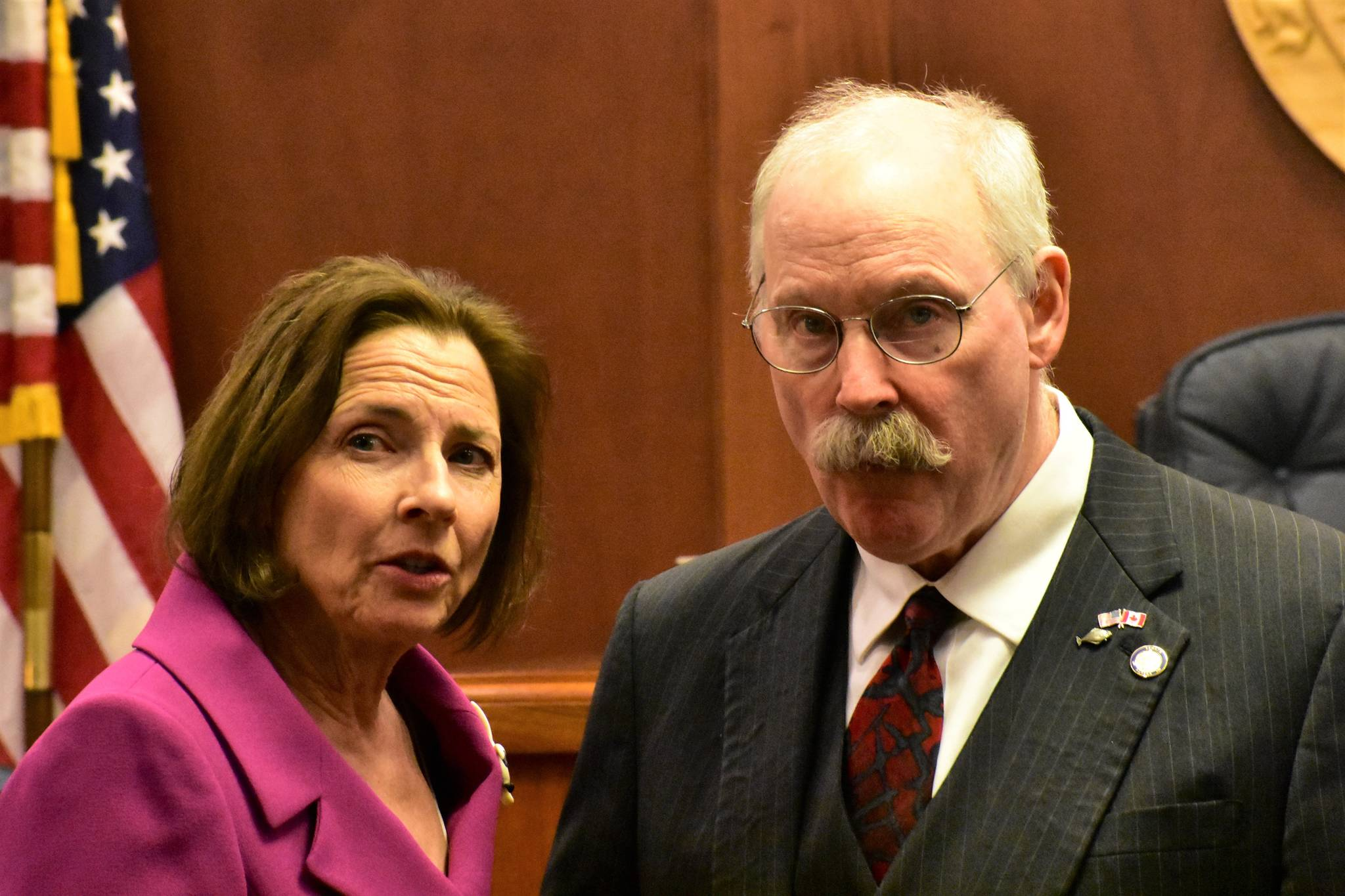 Senate President Cathy Giessel, R-Anchorage, and Sen. Bert Stedman, R-Sitka, talk before the first floor session of the year on Tuesday, Jan. 21, 2020. (Peter Segall | Juneau Empire)