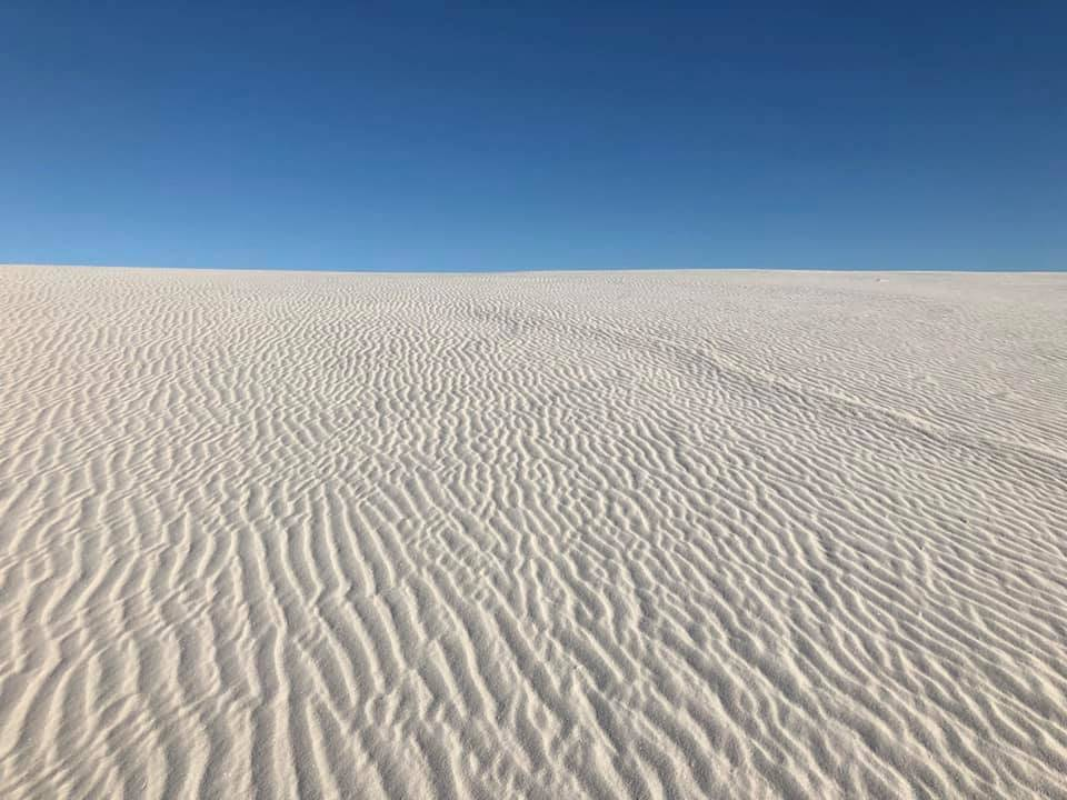 White Sands National Monument in New Mexico could almost be mistaken for a snowy hillside. (Photo by Victoria Petersen/Peninsula Clarion)