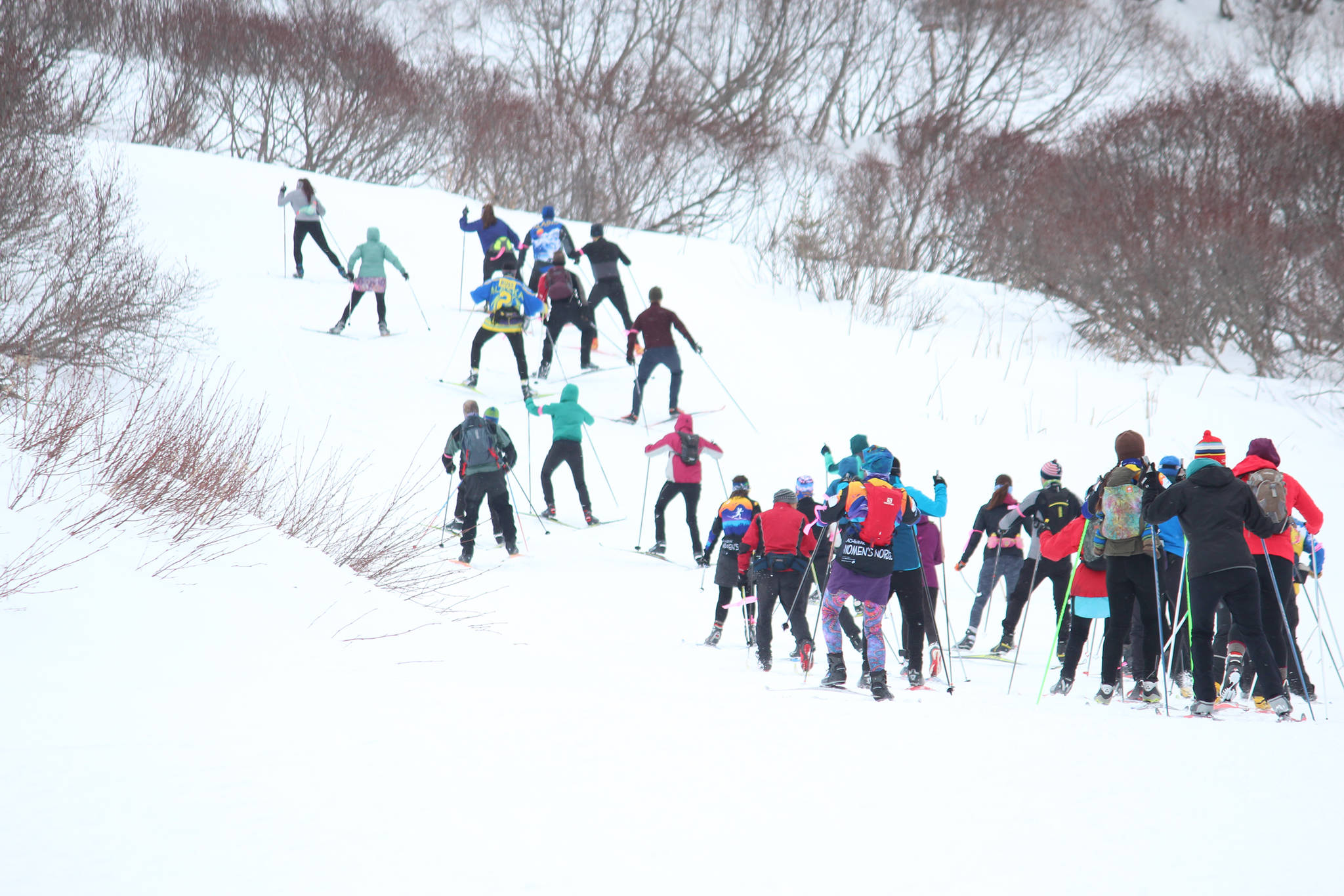 Participants in the 25 kilometer portion of the Kachemak Nordic Ski Marathon take off up the first hill of the course Saturday, March 9, 2019 at the Lookout Mountain Trails near Homer, Alaska. (Photo by Megan Pacer/Homer News)