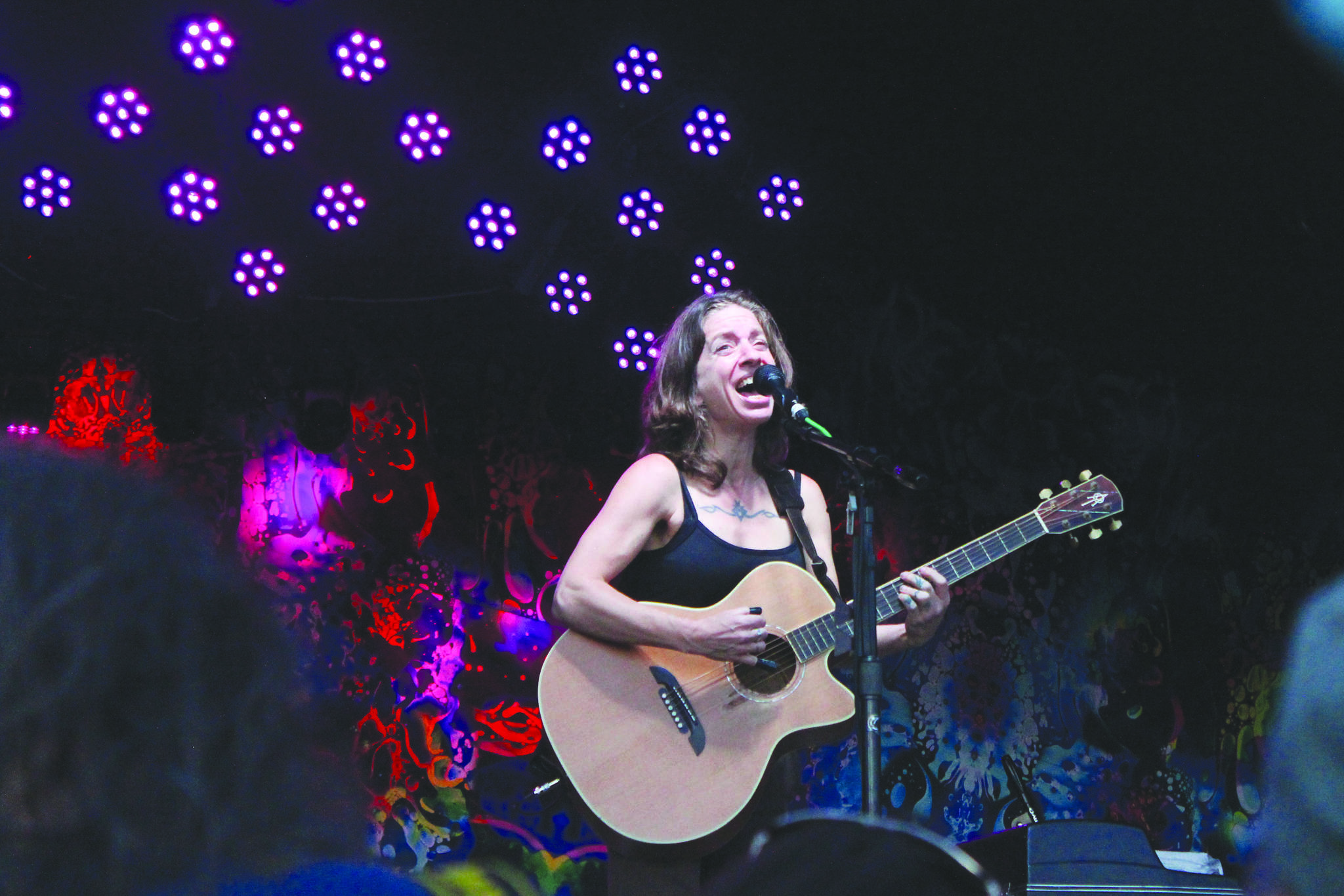 Ani DiFranco performs as the headliner at Salmonfest on Friday, Aug. 2, 2019 in Ninilchik, Alaska. (Photo by Megan Pacer/Homer News)