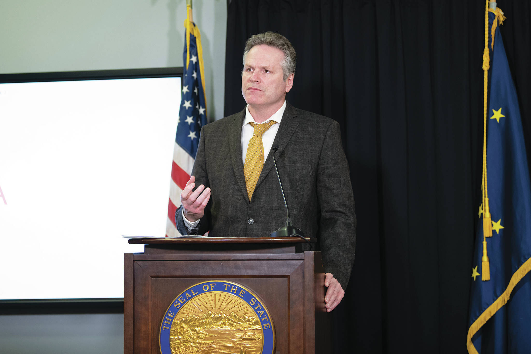 Gov. Mike Dunleavy speaks during a Tuesday, April 7, 2020 press conference in the Atwood Building in Anchorage, Alaska. (Photo courtesy Office of the Governor)