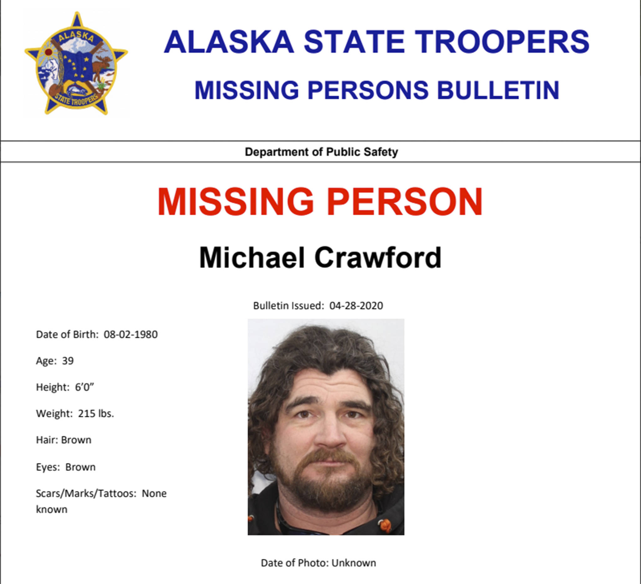 This missing person bulletin from the Alaska State Troopers shows Michael Crawford of Homer, who went missing near Cooper Landing last week. (Image courtesy Alaska State Troopers)