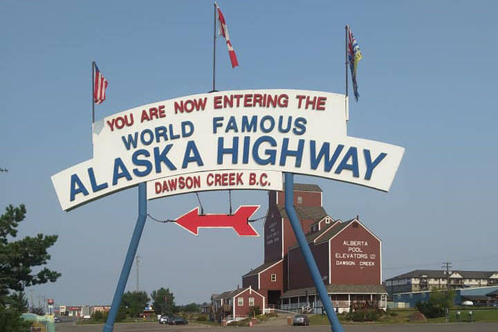 The sign announcing the start of the Alaska Highway in Dawson's Creek, British Columbia. Taken in August of 2018. (Photo by Brian Mazurek/Peninsula Clarion)