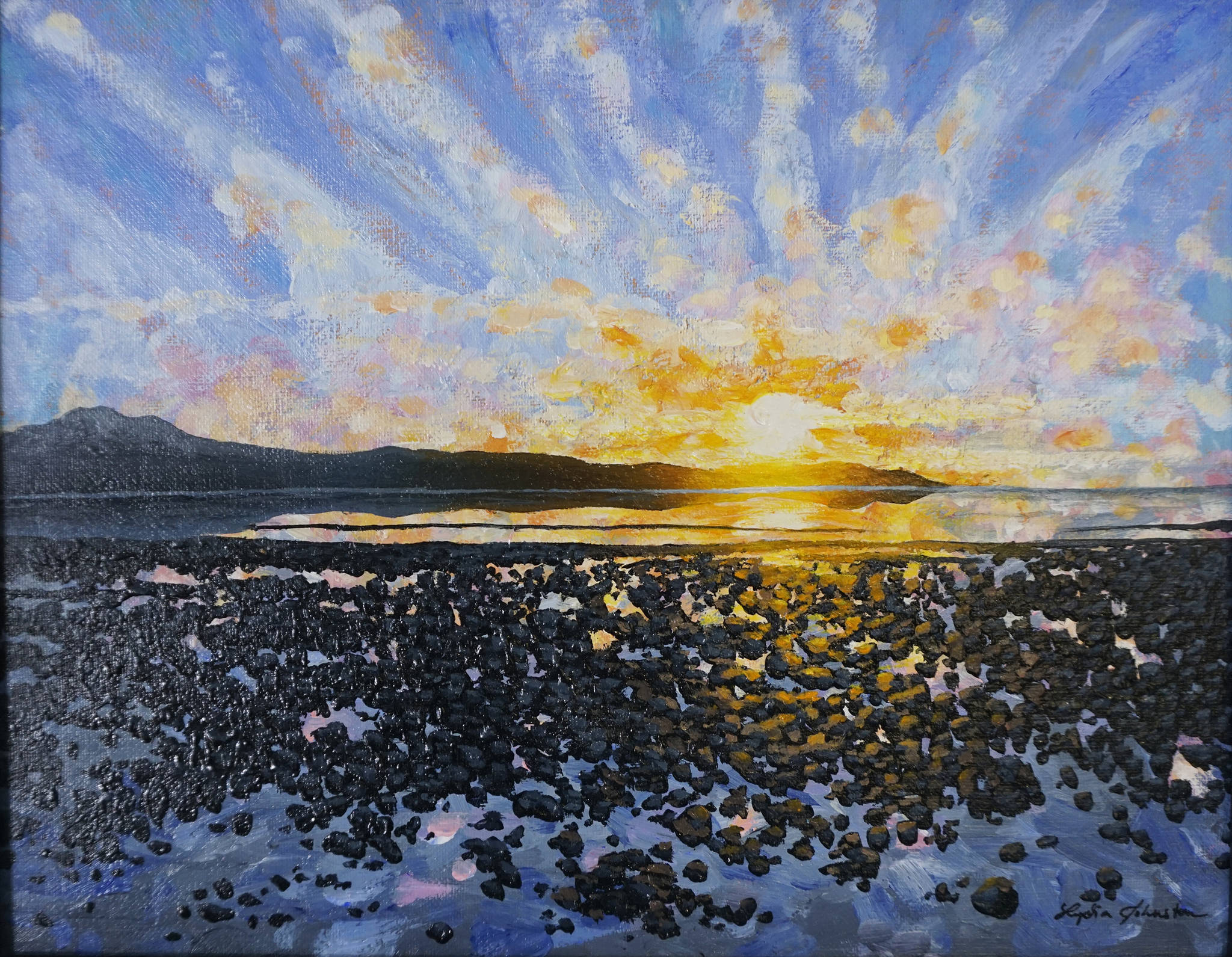 """Lydia Johnston's """"December,"""" one of the paintings from her show, """"Dynamic Lighting in Alaska,"""" that opened June 5, 2020, at Grace Ridge Brewery in Homer, Alaska. (Photo by Michael Armstrong/Homer News)"""