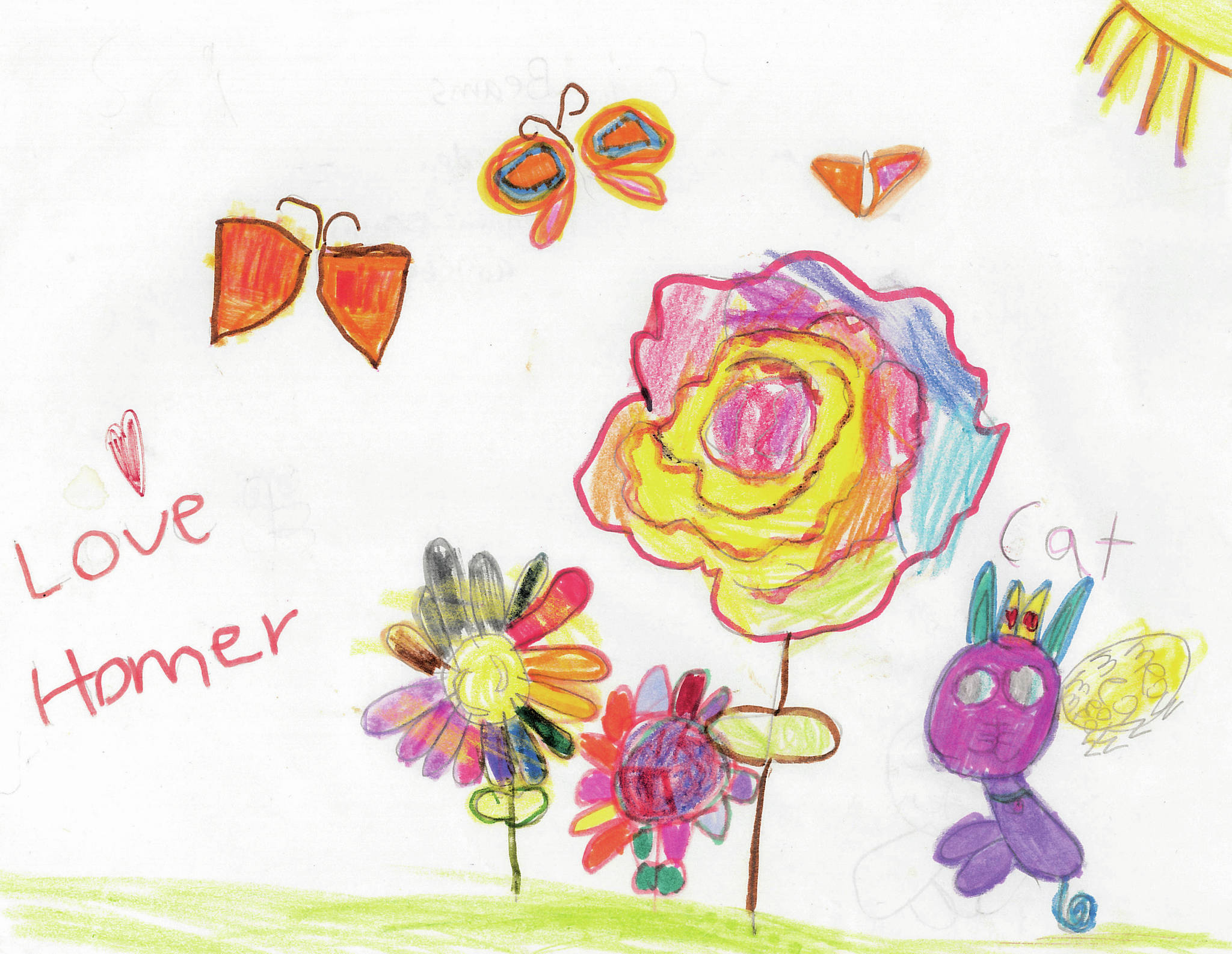 """Photo courtesy Homer Council on the Arts                                  Sei Beams' winning poster in the kindergarten-grade 2 category for the Homer Council on the Arts """"Homer, City of Peonies"""" contest."""