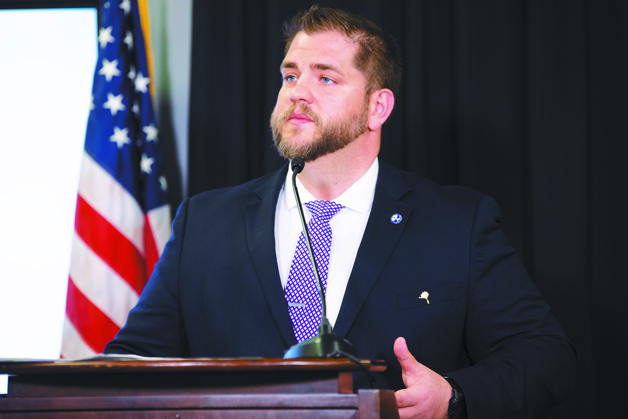 Alaska Department of Health and Social Services Commissioner Adam Crum speaks during a Tuesday, April 7, 2020 press conference in the Atwood Building in Anchorage, Alaska. (Photo courtesy Office of the Governor)