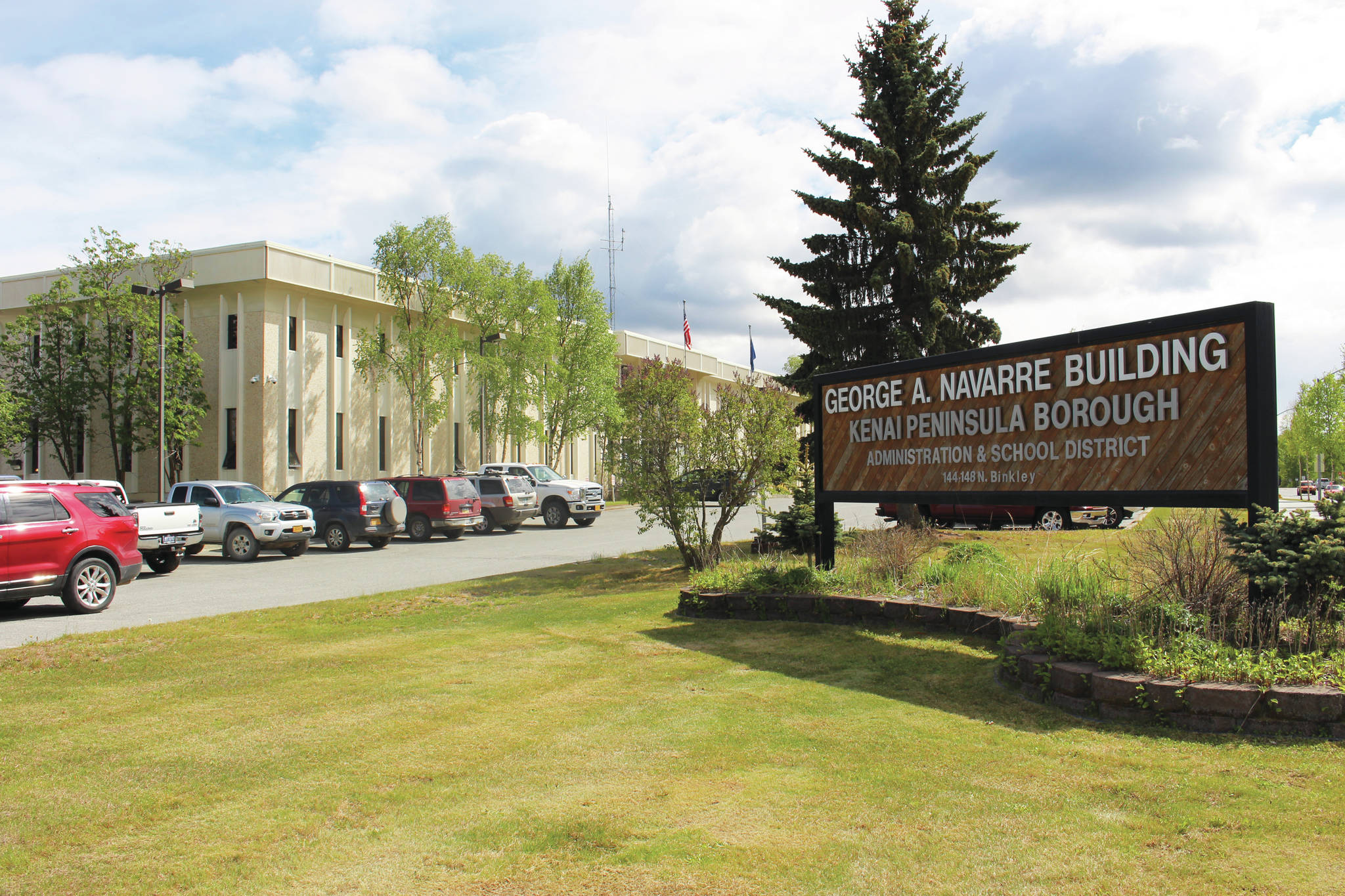 The entrance to the Kenai Peninsula Borough building in Soldotna, Alaska. (Photo by Brian Mazurek/Peninsula Clarion)