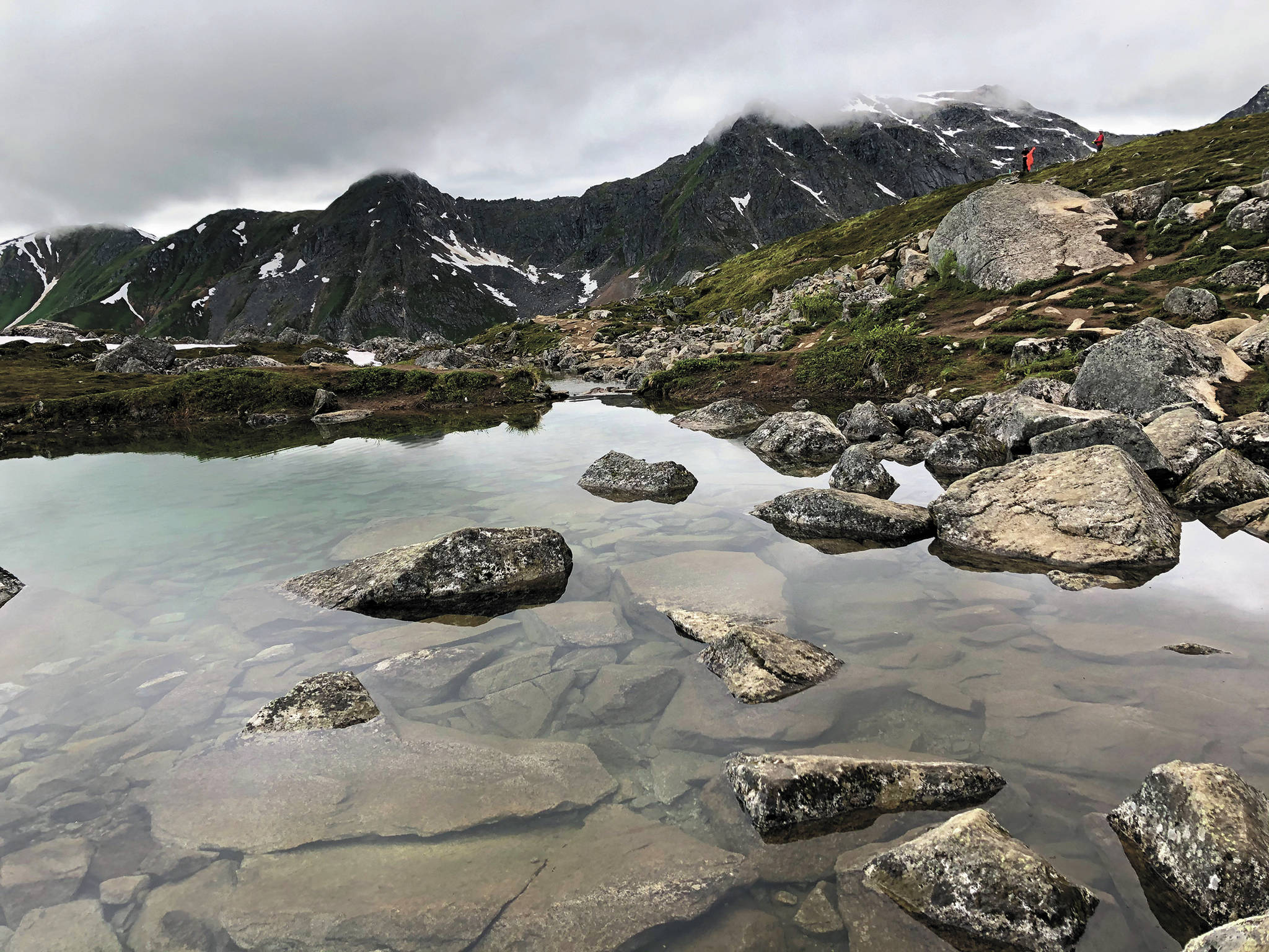 Gold Cord Lake is seen here on an overcast July 19, 2020 in Hatcher Pass, Alaska. (Photo by Megan Pacer/Homer News)