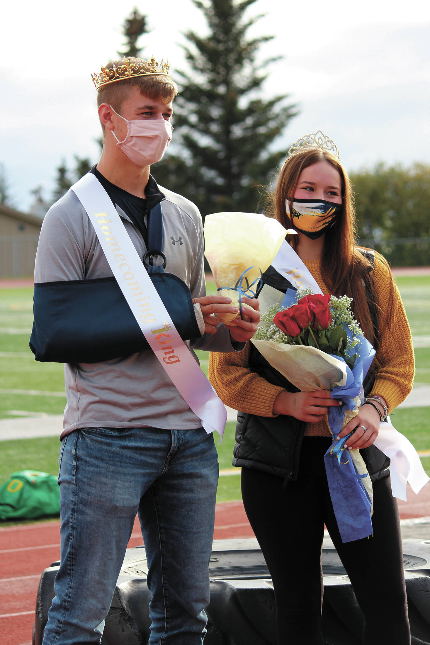 Seniors Clayton Beachy and Mary Black are crowned this year's homecoming king and queen during halftime at Homer High School's homecoming game Saturday, Oct. 3, 2020 in Homer, Alaska. (Photo by Megan Pacer/Homer News)