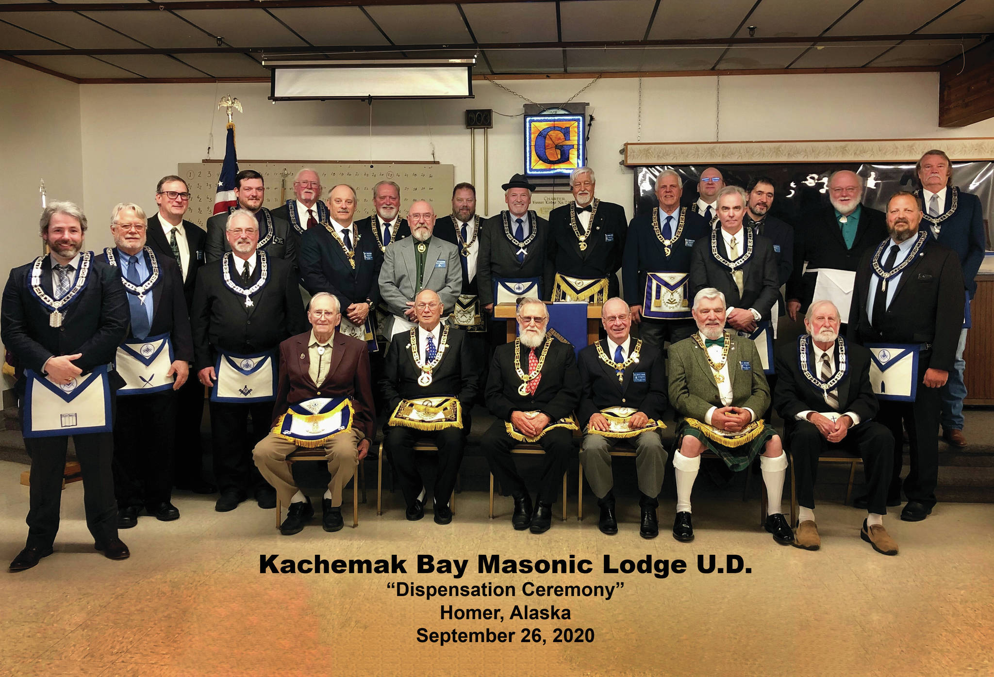 Members of the Kachemak Bay Masonic Lodge U.D. (Under Dispensation) and other Alaska Masons pose for a photo at a dispensation ceremony on Sept. 26, 2020, at the Homer Elks Lodge in Homer, Alaska. (Photo courtesy of Kachemak Bay Masonic Lodge U.D.)
