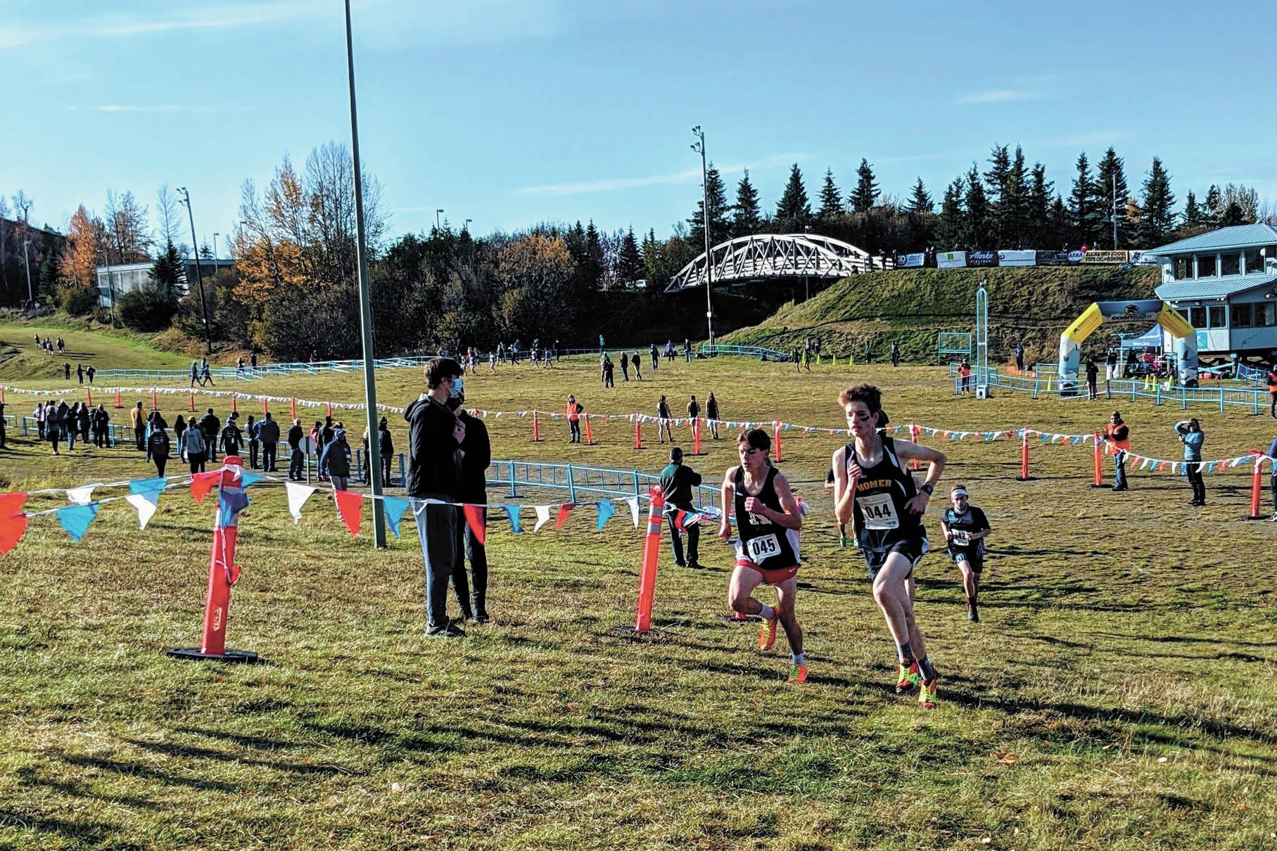Seamus McDonough competes in the boys' Division II state cross country meet Saturday, Oct. 10, 2020 in Anchorage, Alaska. (Photo by Catriona Reynolds)
