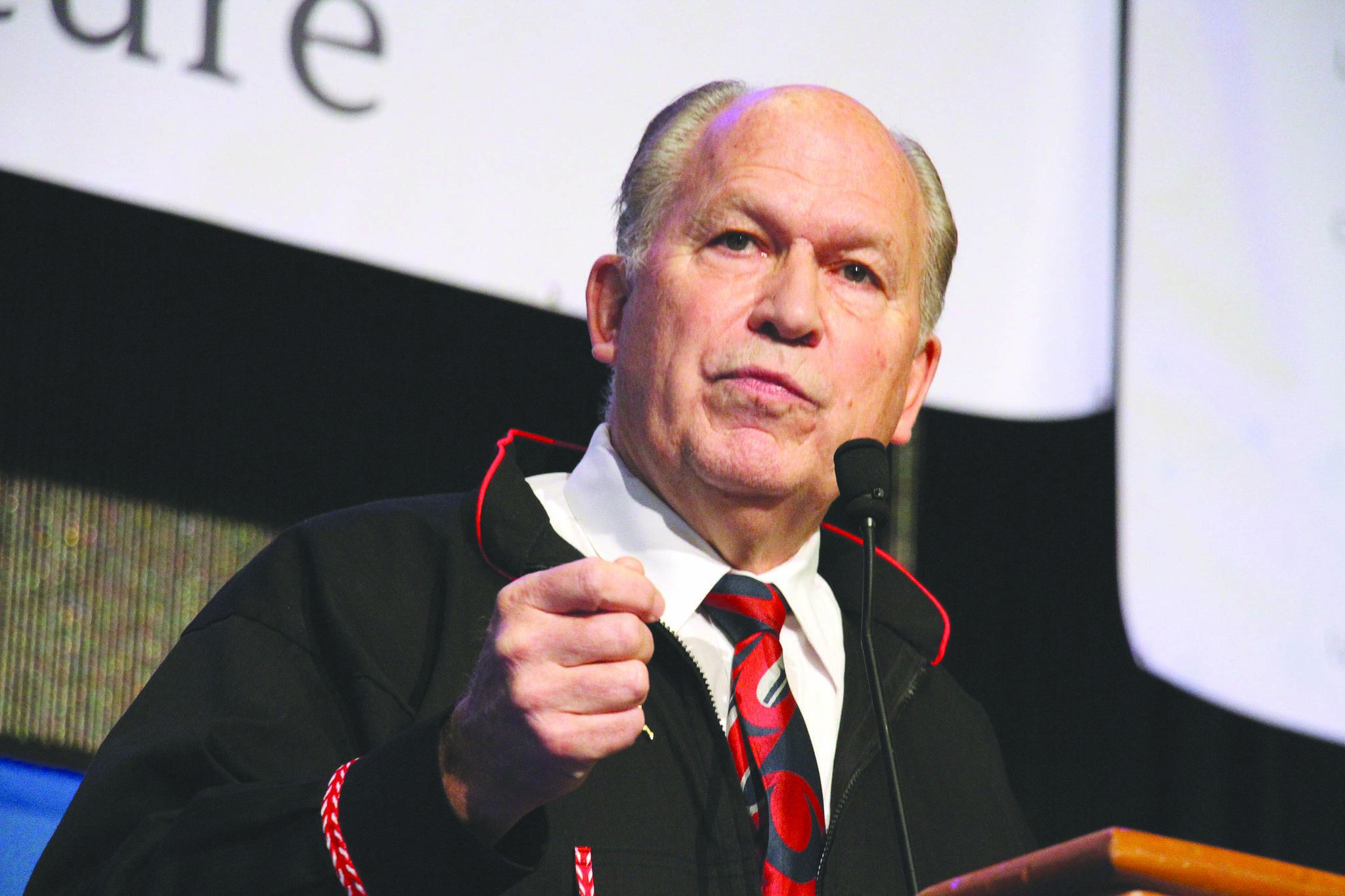 In this Oct. 18, 2018, file photo, then-Alaska Gov. Bill Walker addresses delegates at the annual Alaska Federation of Natives conference in Anchorage, Alaska. (AP Photo/Mark Thiessen, File)