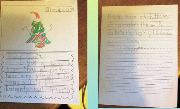 A letter to Santa from a first grade student at Paul Banks Elementary School. (Photo courtesy Jennifer Reinhart)