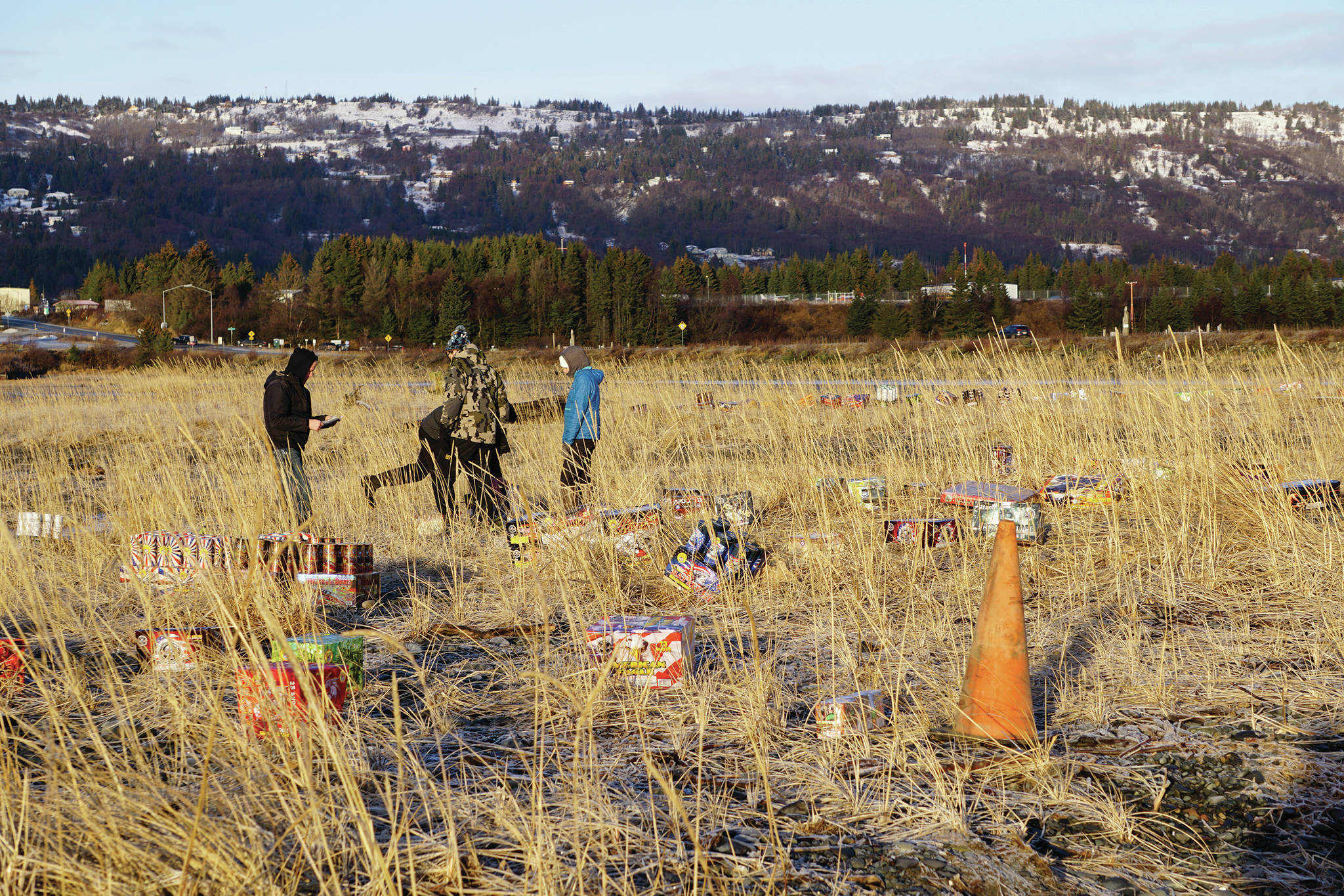 Fireworks are set up on Thursday, Dec. 31, 2020, in advance of the show later that night at Mariner Park on the Homer Spit in Homer, Alaska. (Photo by Michael Armstrong/Homer News)