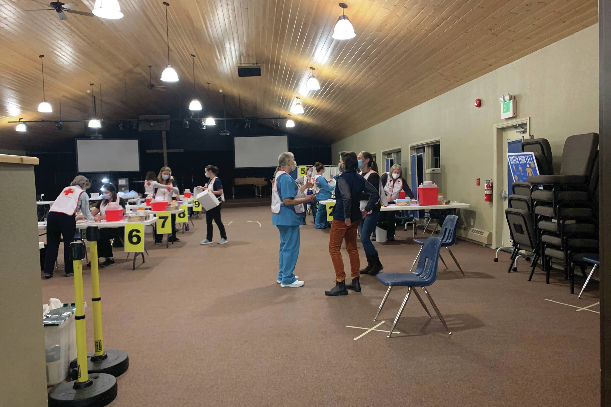 Hospital staff and volunteers prepare for a vaccination clinic Friday, Jan. 15, 2021 at Christian Community Church in Homer, Alaska. It was the first major vaccine clinic for seniors on the Kenai Peninsula. (Photo courtesy Derotha Ferraro/South Peninsula Hospital)