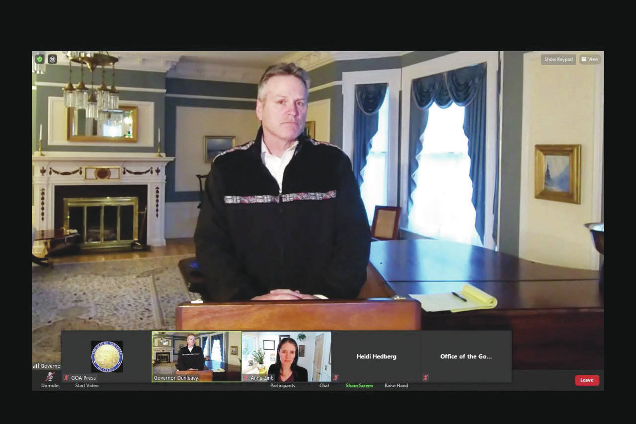 Gov. Mike Dunleavy addresses Alaskans during a remote press conference on Tuesday, March 9, 2021. Dunleavy announced that the COVID-19 vaccine is now available to all Alaskans who want it. (Screenshot)