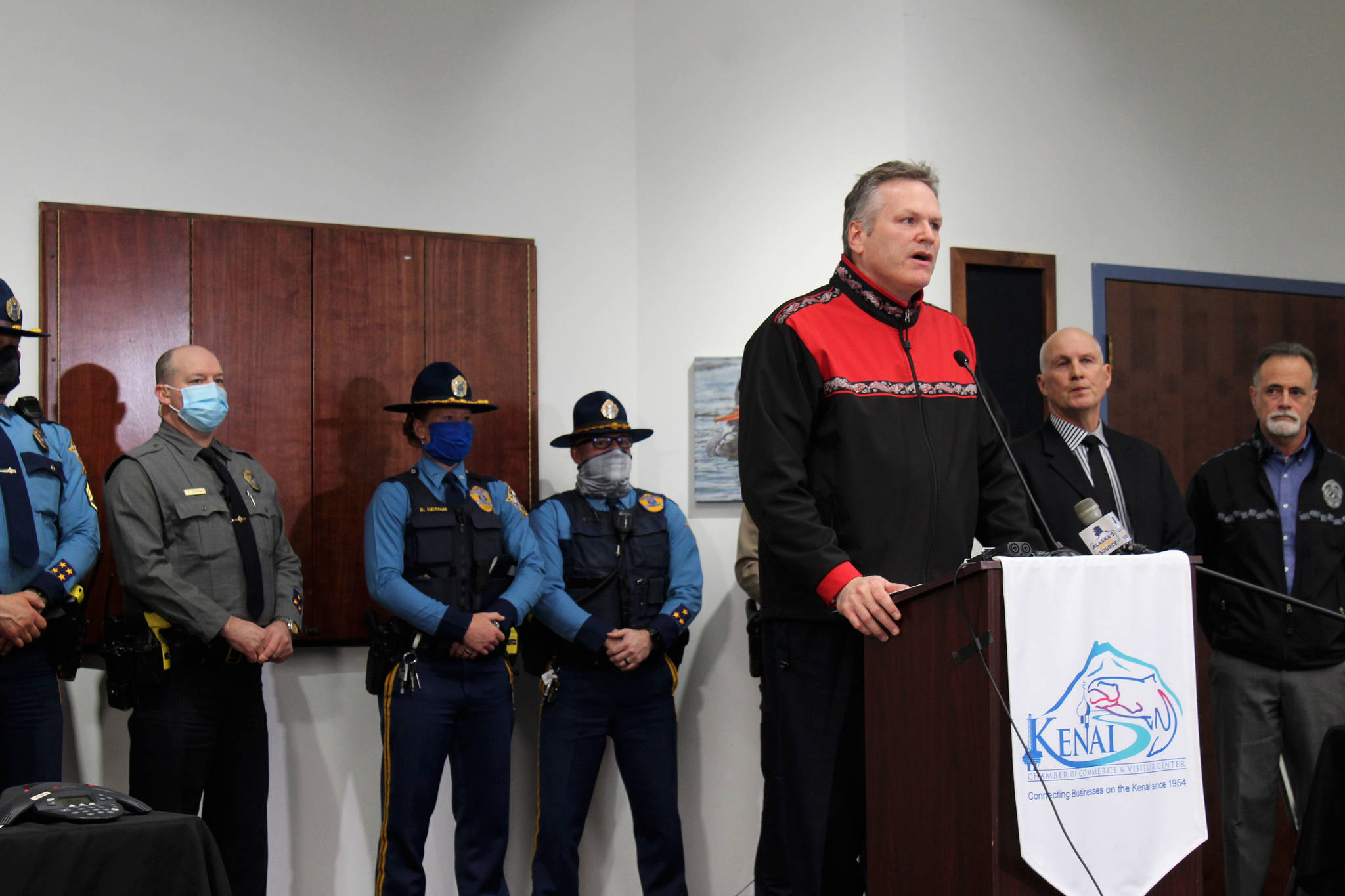 Gov. Mike Dunleavy speaks at the Kenai Chamber of Commerce and Visitor Center on Tuesday, April 6 in Kenai, Alaska. (Ashlyn O'Hara/Peninsula Clarion)