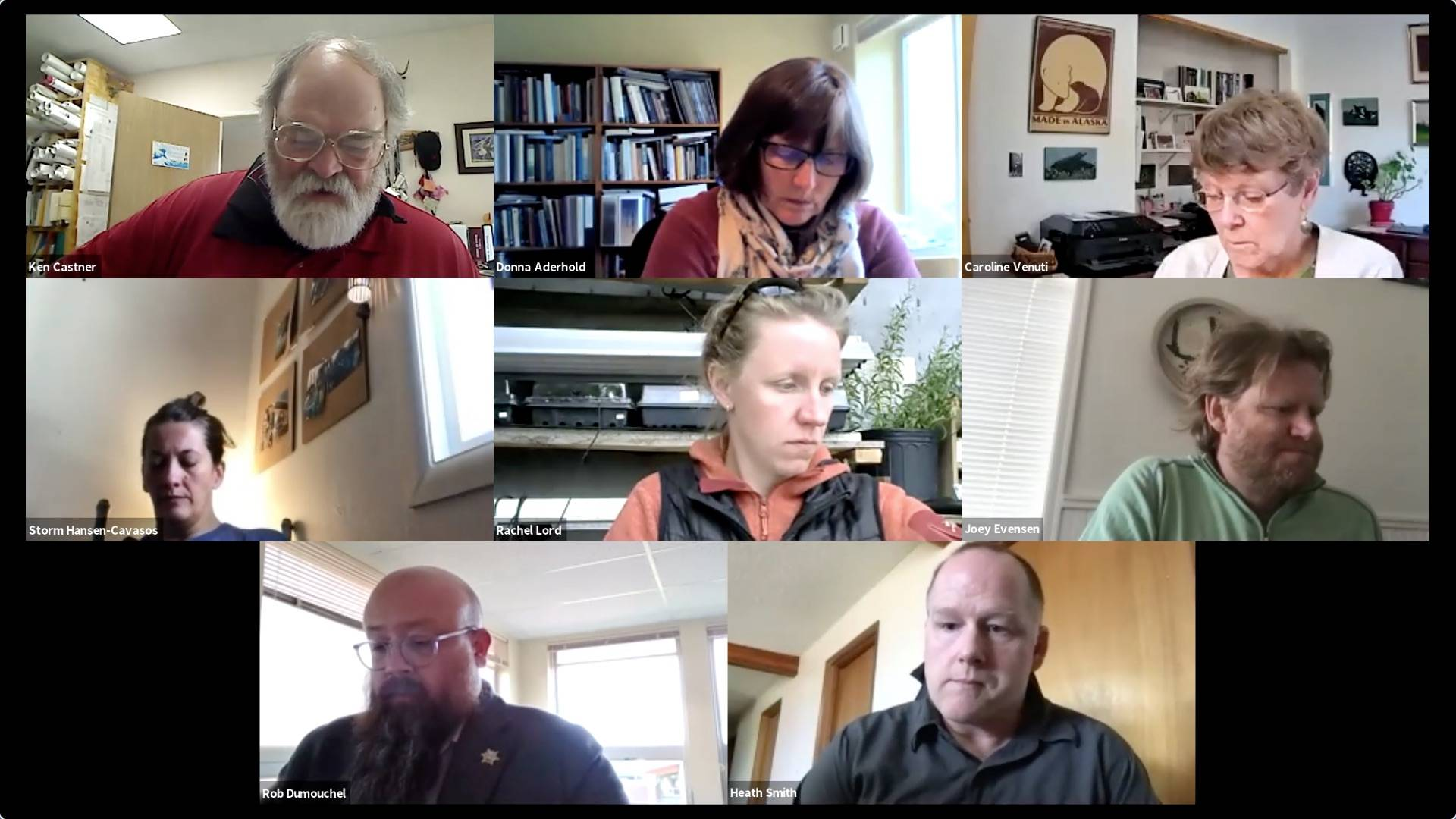 Screenshot  The Homer City Council participates in a remote meeting on Monday, April 26 in Homer, Alaska.