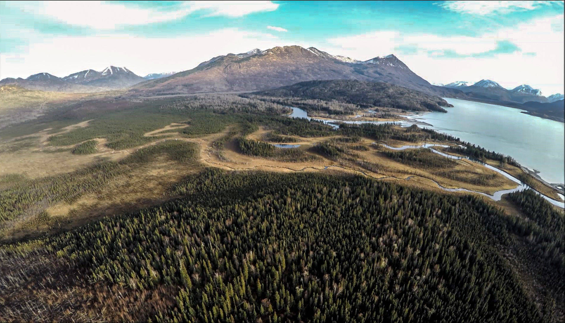 The beauty and expansiveness of the Kenai National Wildlife Refuge seen from an unmanned aircraft in the upper Kenai River and Skilak Lake. (Photo by Mark Laker, USFWS)