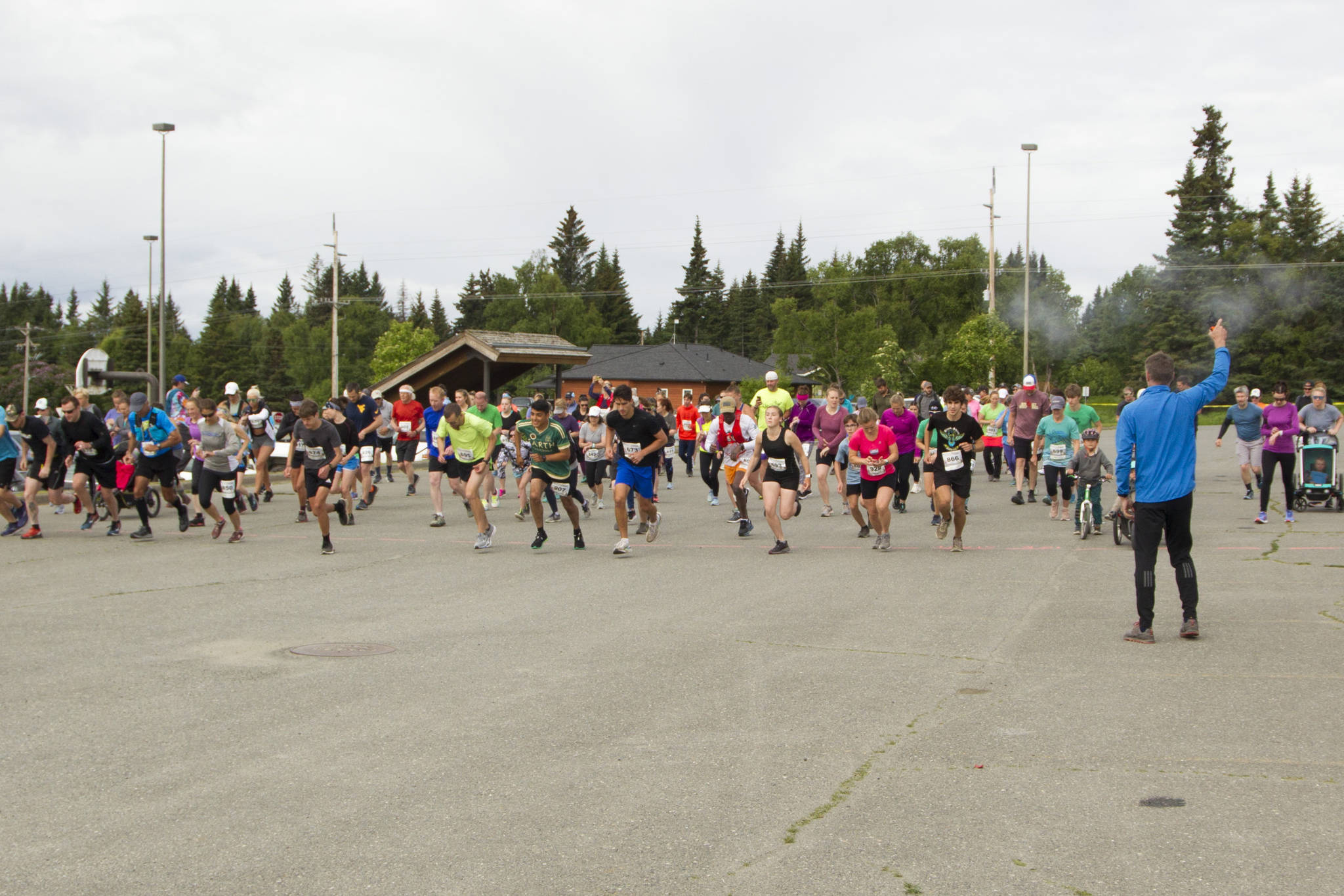 More than 140 runners participated in the 10K to the Bay run on Saturday, June 26. The race began at Homer High School and finished at Land's End on the Spit. (Photo by Sarah Knapp/Homer News)