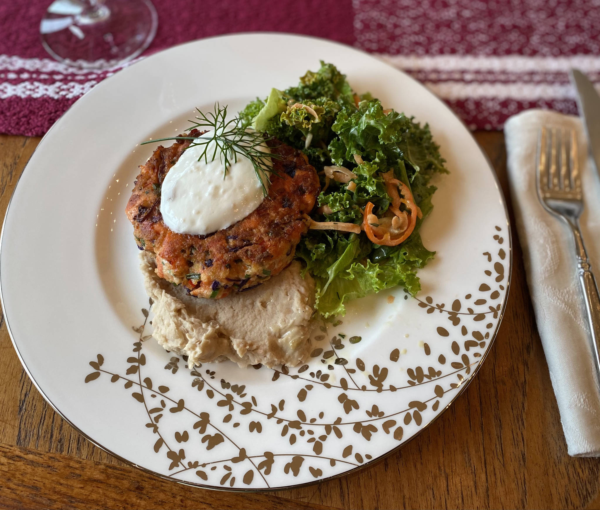 Bell pepper, cabbage and onions add flavor and texture to this salmon cake recipe. (Photo by Tress Dale/Peninsula Clarion)