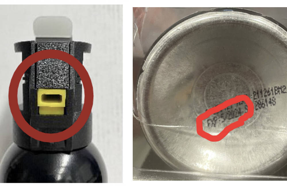 A bear spray manufacturer issued a recall on a bear repellant product, shown here with identifying characteristics, that may not spray as intended. (Screenshot / SABRE)