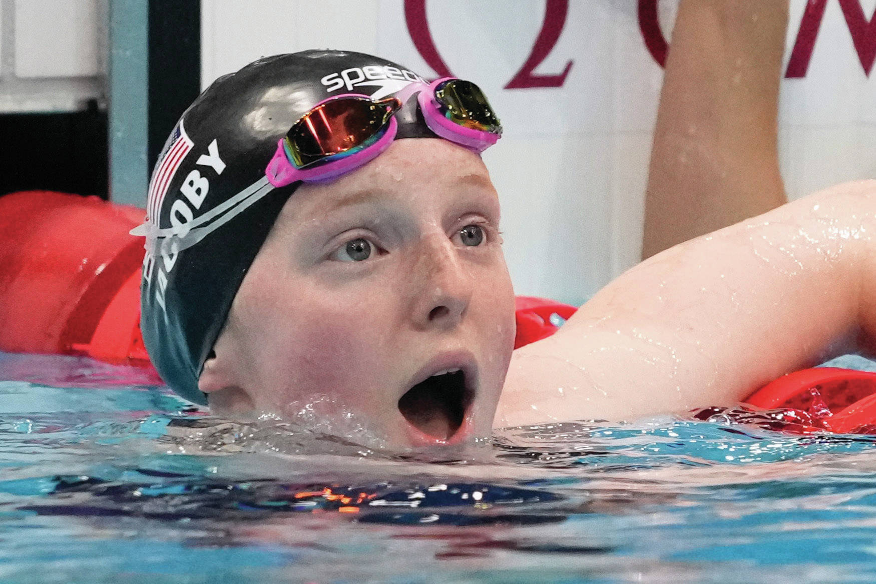 AP Photos / Petr David Josek Lydia Jacoby, of the United States, reacts Tuesday after winning the final of the women's 100-meter breaststroke at the 2020 Summer Olympics in Tokyo.
