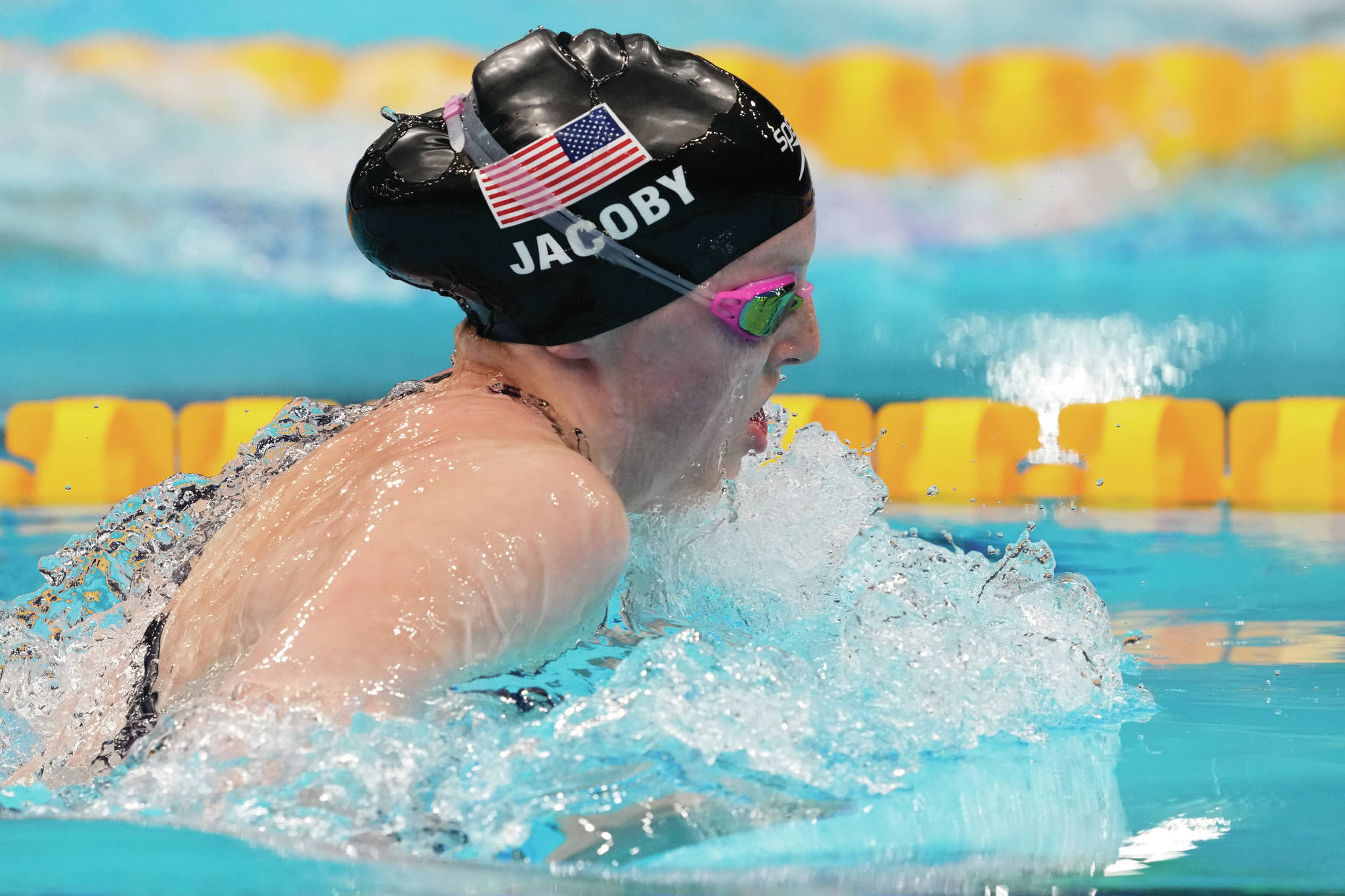 AP Photo / Petr David Josek Lydia Jacoby passed the world record holder and Olympic record holder in final 50 meters to win the 100 breaststroke.