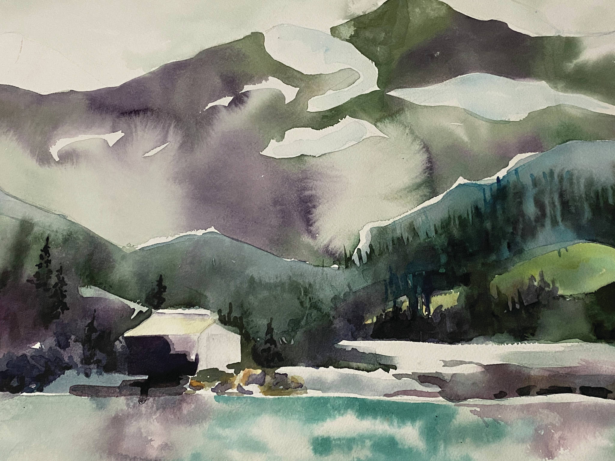 """""""Goober Lake, """" painting by Kimberly Cooper, is part of the members showcase exhibit opening Friday, Sept. 3, 2021, at the Homer Council on the Arts in Homer, Alaska. (Photo courtesy of Homer Council on the Arts)"""