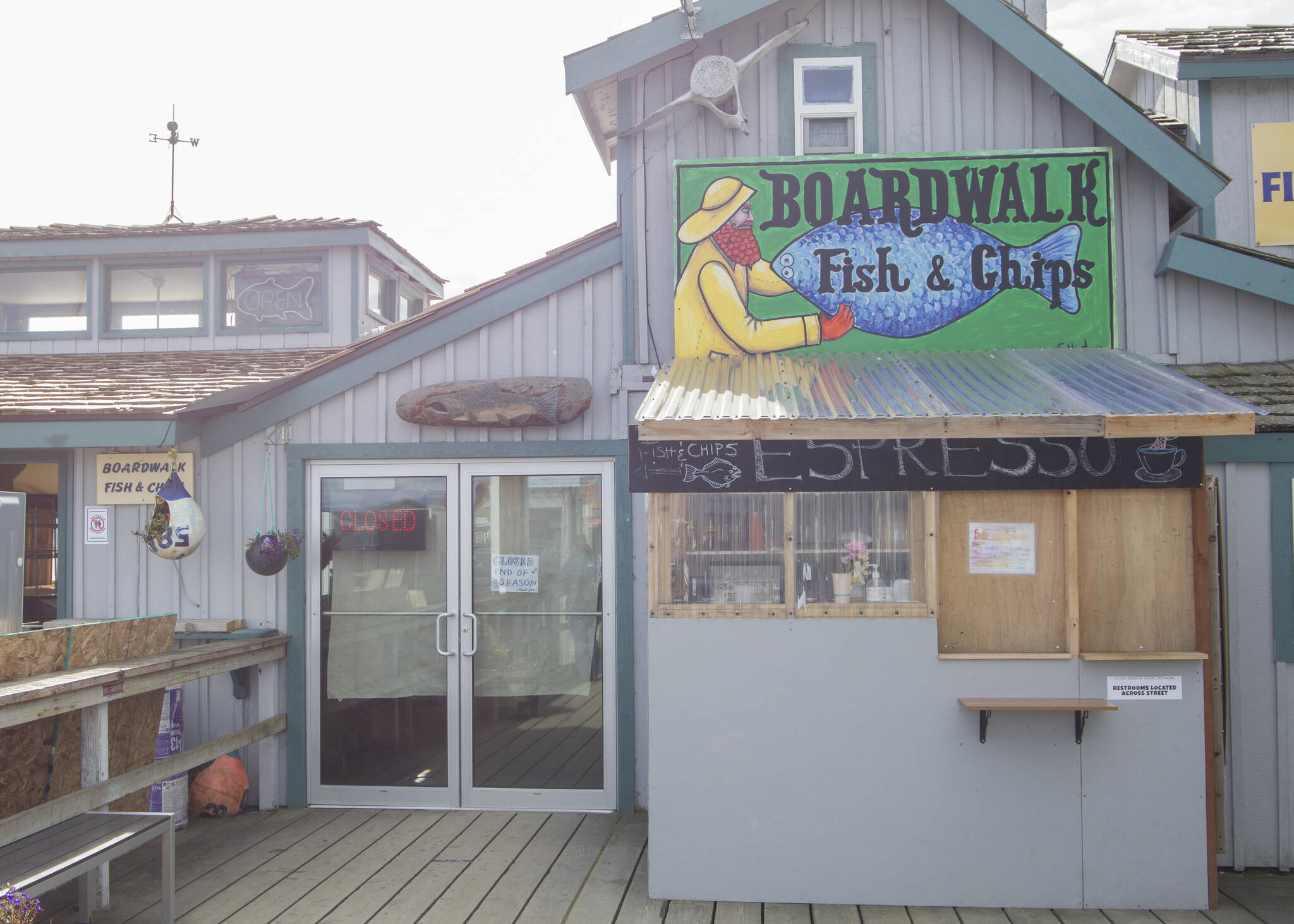 Boardwalk Fish and Chips is now closed for the season. The restaurant is boarded up and the workers are ready for a break. (Photo by Sarah Knapp/Homer News)