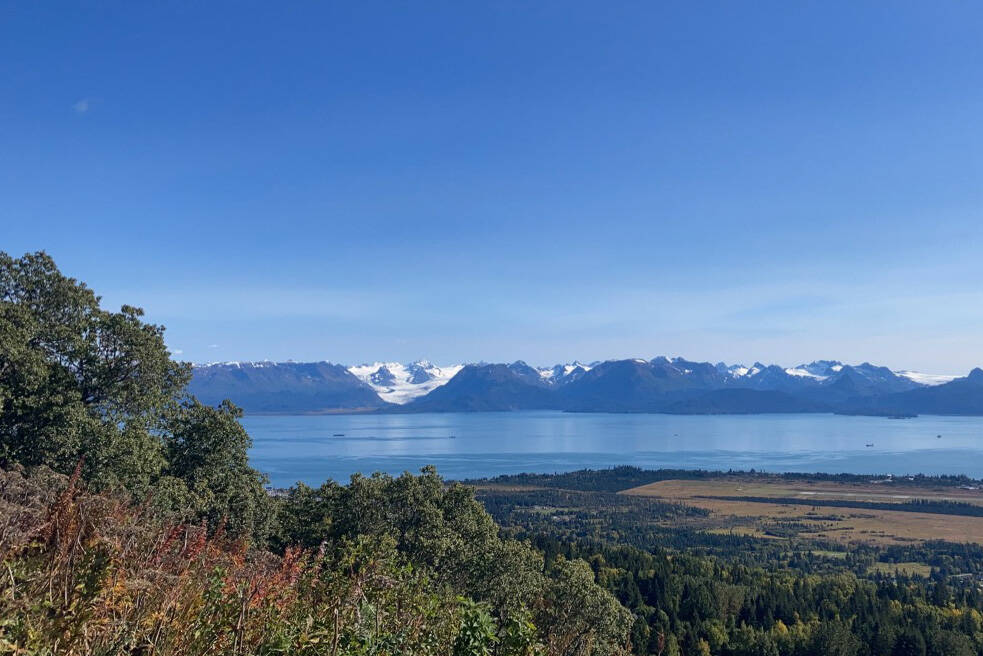 The beautiful weather last Saturday provided a clear view of Grewingk Glacier across Kachemak Bay from the Skyline Drive Overlook. (Photo by Sarah Knapp)