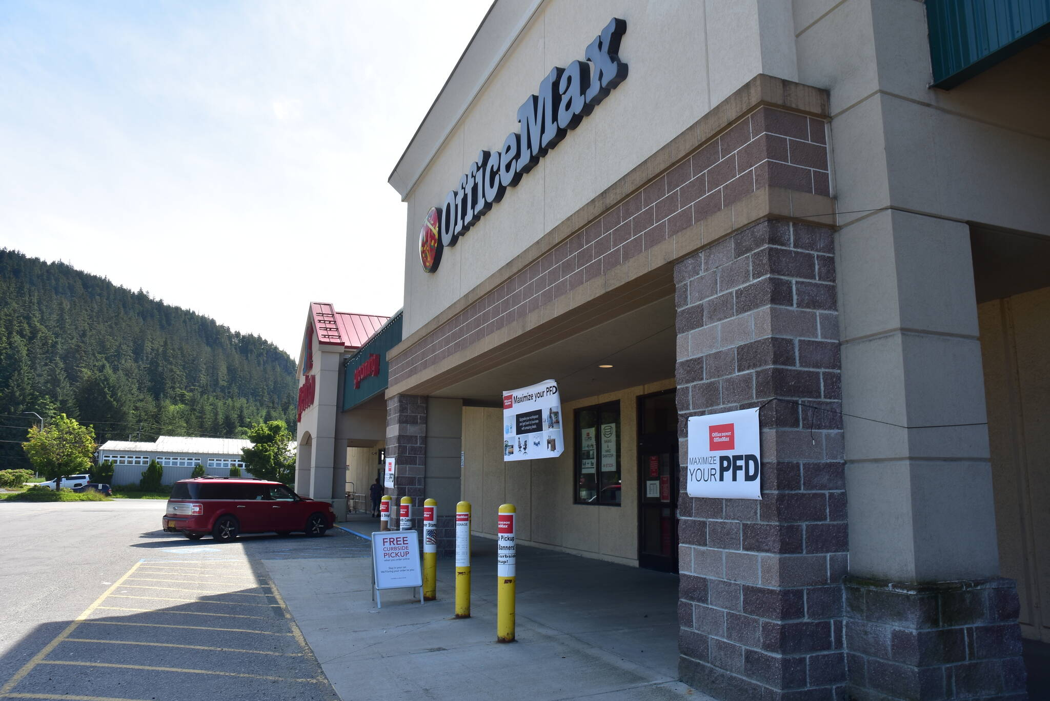 Office Max at the Nugget Mall in the Mendenhall Valley advertised Permanent Fund dividend sales on Thursday, July 2, 2020. This year's PFD will be  $1,114, the Alaska Department of Revenue announced. (Peter Segall / Juneau Empire File)