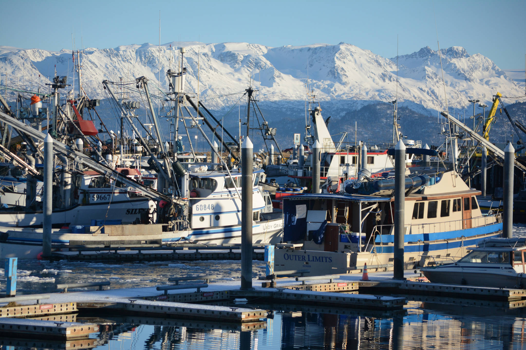 Commercial fishing and other boats are moored in the Homer Harbor in this file photo. (Photo by Michael Armstrong/Homer News)